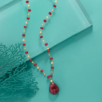 10.00 Carat Ruby Station Necklace in 14kt Yellow Gold