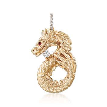 .13 ct. t.w. White Sapphire Dragon Pendant With Ruby Accent in 14kt Yellow Gold, , default