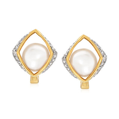 7mm Cultured Pearl and .32 ct. t.w. Diamond Drop Earrings in 14kt Yellow Gold, , default