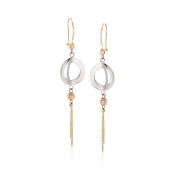 14kt Tri-Colored Gold Circle Drop Earrings, , default