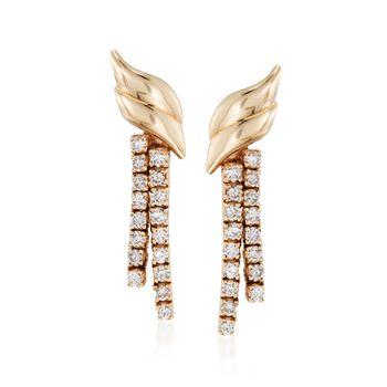 """C. 1990 Vintage 1.50 ct. t.w. Diamond Drop Earrings in 14kt Yellow Gold. 1 1/8"""", , default"""