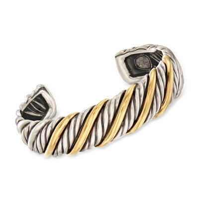 C. 1990 Vintage David Yurman Sterling Silver and 14kt Yellow Gold Cuff Bracelet, , default