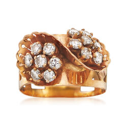 C. 1970 Vintage 1.00 ct. t.w. Diamond Floral Ring in 18kt Yellow Gold. Size 7.5, , default