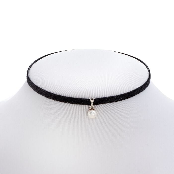 "7-7.5mm Cultured Pearl and Black Velvet Choker Necklace with Diamond Accents. 13.5"", , default"