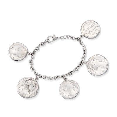 Italian Sterling Silver Ancient Coin Charm Bracelet, , default
