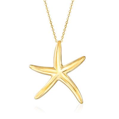 Italian 14kt Yellow Gold Starfish Pendant Necklace, , default