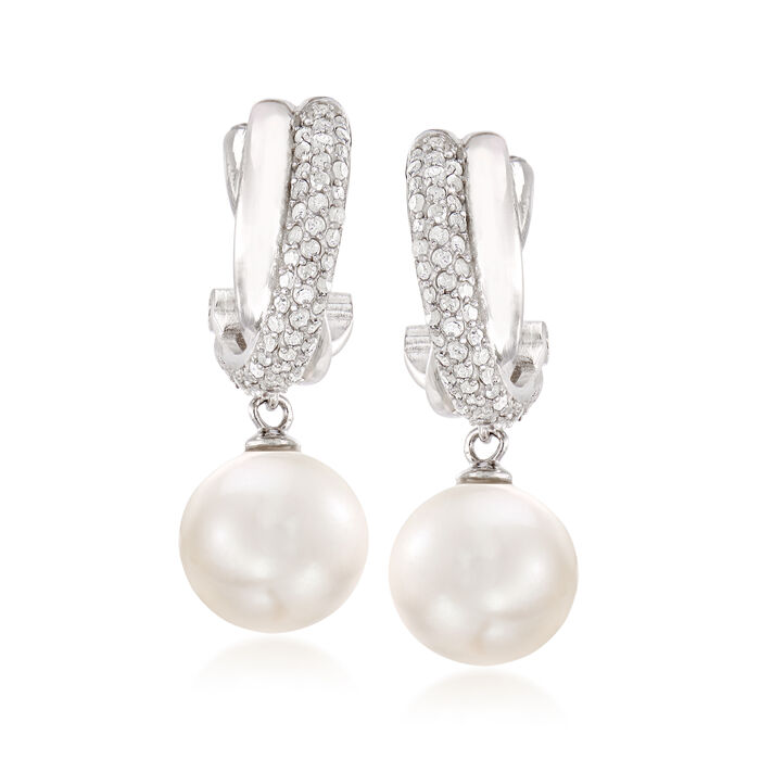 10-11mm Cultured Pearl and .40 ct. t.w. Diamond Drop Earrings in Sterling Silver