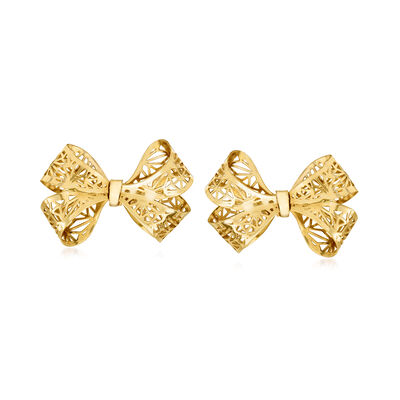 Italian 14kt Yellow Gold Filigree Bow Earrings