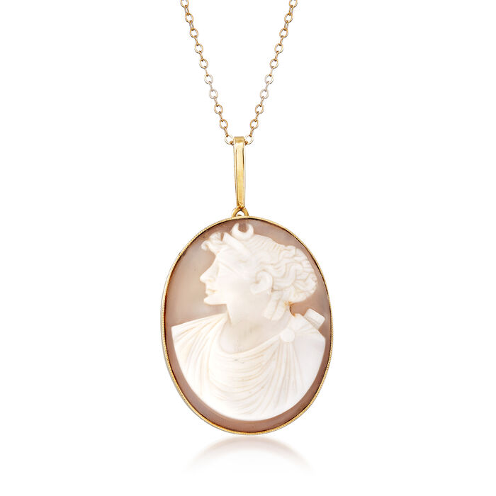 "C. 1940 Vintage Shell Cameo Pendant Necklace in 14kt Yellow Gold. 18"", , default"