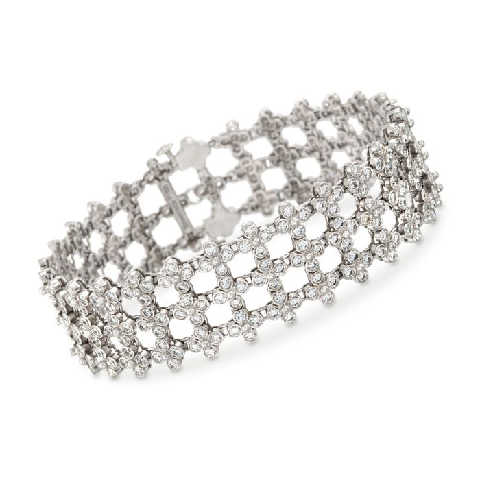 "C. 1970 Vintage Tiffany Jewelry 8.50 ct. t.w. Diamond Lattice Bracelet in Platinum. 7"", , default"