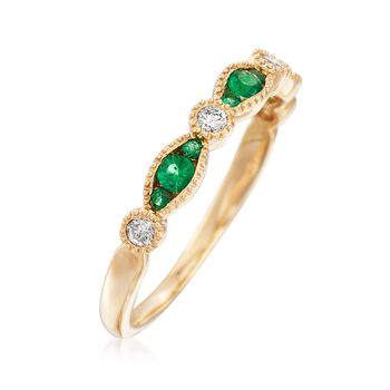 .16 ct. t.w. Emerald and .12 ct. t.w. Diamond Ring in 14kt Yellow Gold, , default
