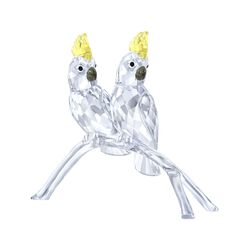 "Swarovski Crystal ""Cockatoos"" Yellow and Clear Crystal Figurine, , default"