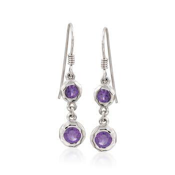 Zina Sterling Silver 1.20 ct. t.w. Amethyst Wire Drop Earrings, , default