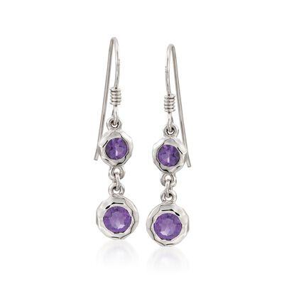Zina Sterling Silver 1.20 ct. t.w. Amethyst Wire Drop Earrings , , default