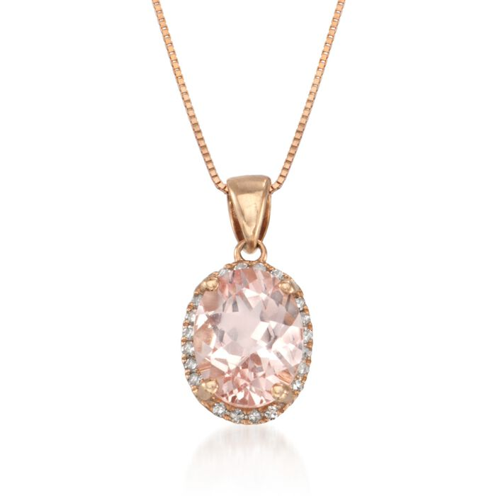 1.70 Carat Morganite Drop Necklace with Diamonds in 14kt Rose Gold