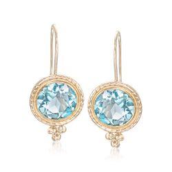 2.00 ct. t.w. Blue Topaz Drop Earrings in 14kt Yellow Gold, , default