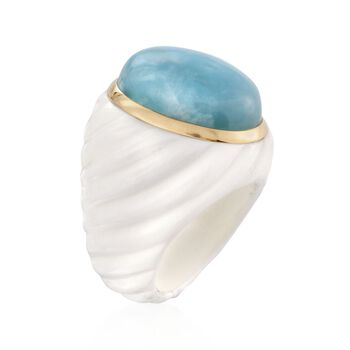 Milky Aquamarine and White Agate Ring with 14kt Yellow Gold. Size 5, , default