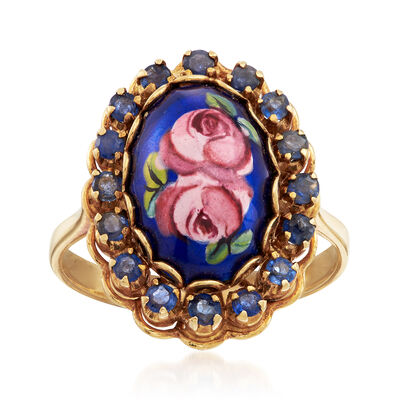 C. 1970 Vintage .80 ct. t.w. Sapphire and Enamel Floral Ring in 14kt Yellow Gold, , default