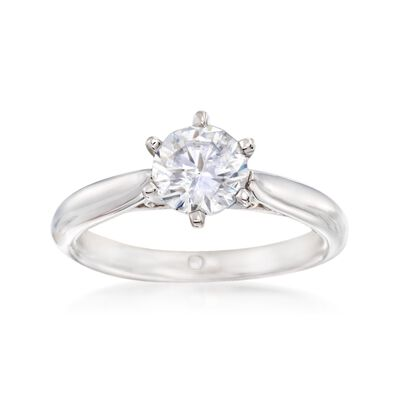 Gabriel Designs 14kt White Gold Six-Prong Solitaire Engagement Ring Setting with Diamond Accents