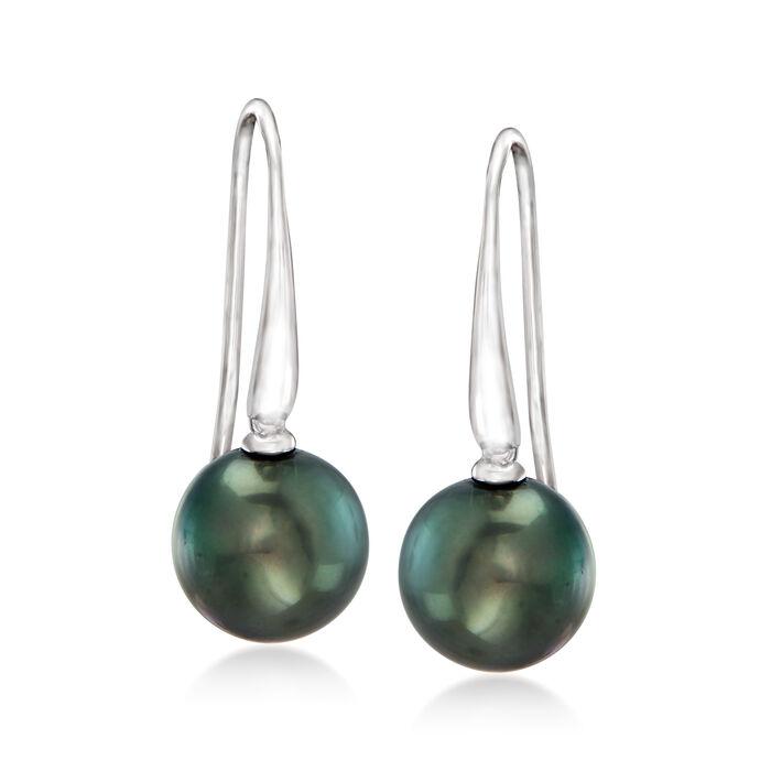 10-10.5mm Black Cultured Tahitian Pearl Drop Earrings in Sterling Silver