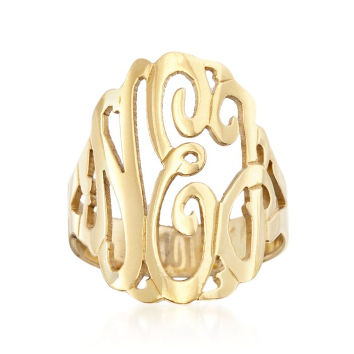 24kt Gold Over Sterling Silver Open Script Monogram Ring, , default
