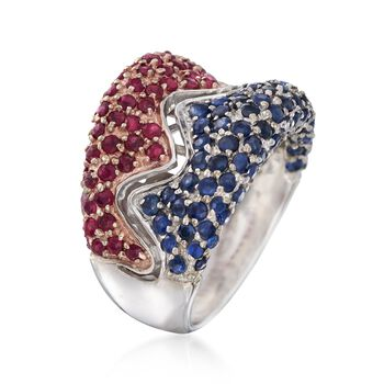 C. 1980 Vintage 2.60 ct. t.w. Ruby and Sapphire Ring in 14kt White Gold. Size 6.5, , default
