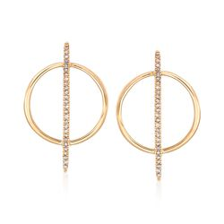.12 ct. t.w. Diamond Bar and Circle Drop Earrings in 14kt Yellow Gold, , default