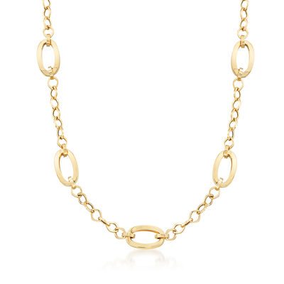 Italian 18kt Yellow Gold Oval-Link Station Necklace, , default
