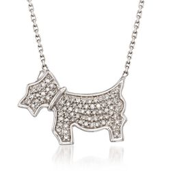 "Diamond Accent Scottie Dog Necklace in Sterling Silver. 16"", , default"