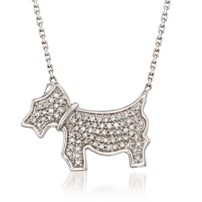 Diamond Accent Scottie Dog Necklace in Sterling Silver, , default
