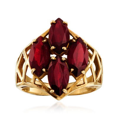C. 1980 Vintage 4.40 ct. t.w. Garnet Cluster Ring in 10kt Yellow Gold, , default