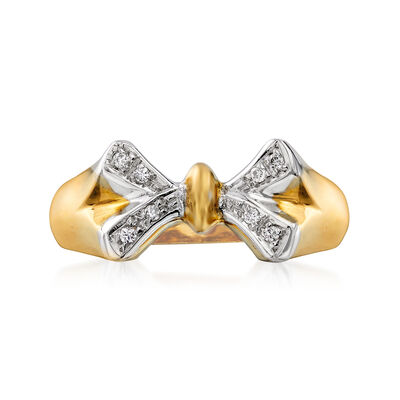 C. 1990 Vintage 18kt Two-Tone Gold Bow Ring with Diamond Accents, , default
