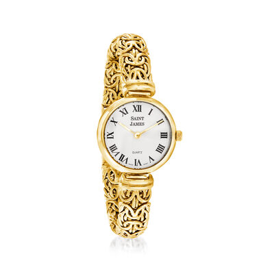 Saint James Women's 22mm 14kt Yellow Gold Byzantine Watch