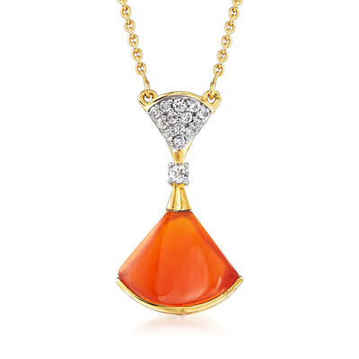 Carnelian and .20 ct. t.w. White Topaz Necklace in 18kt Gold Over Sterling, , default