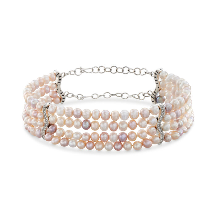 C. 1990 Vintage Multicolored Cultured Pearl and .85 ct. t.w. Diamond Choker Necklace in 18kt White Gold