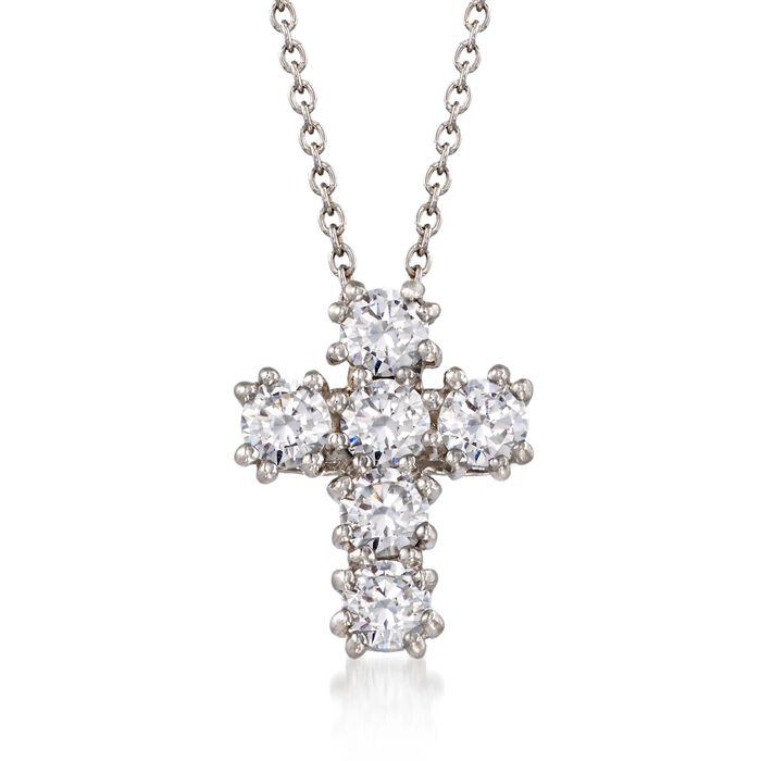 1.50 ct. t.w. CZ Cross Pendant Necklace in Sterling Silver, , default