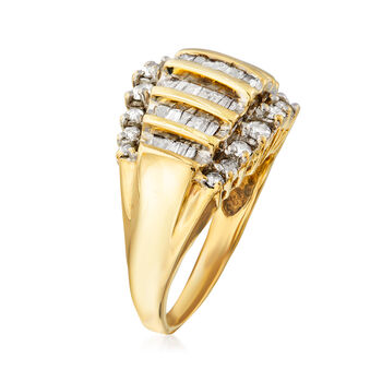 C. 1980 Vintage 1.10 ct. t.w. Diamond Ring in 10kt Yellow Gold. Size 7, , default