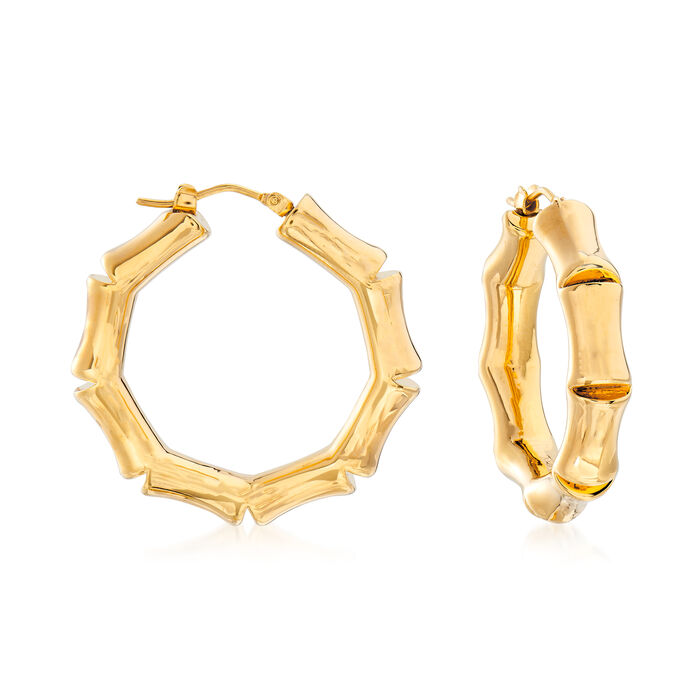 "Italian Andiamo 14kt Yellow Gold Bamboo Hoop Earrings. 1 1/4"", , default"