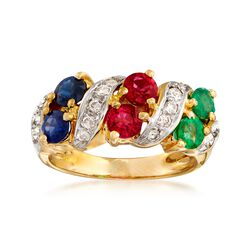C. 1980 Vintage 1.65 ct. t.w. Multi-Stone Ring With .35 ct. t.w. Diamonds in 18kt Gold. Size 6, , default