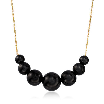 6-12mm Black Onyx Graduated Necklace in 14kt Yellow Gold, , default