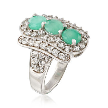 2.10 ct. t.w. Emerald and 2.00 ct. t.w. White Topaz Ring in Sterling Silver. Size 7, , default