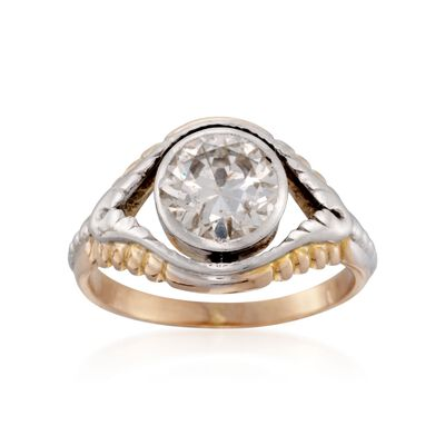 C. 1970 Vintage Bezel-Set 1.60 Carat Diamond Solitaire Ring in Two-Tone, , default