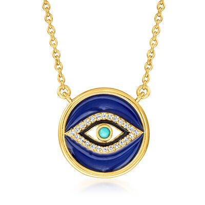 .40 ct. t.w. White Topaz and Multicolored Enamel Evil Eye Necklace with Turquoise in 18kt Gold Over Sterling