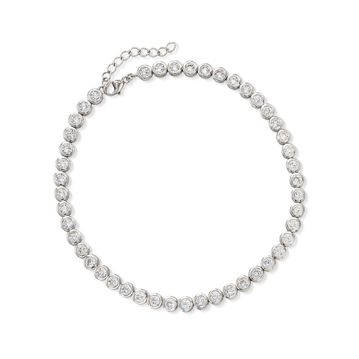 "4.70 ct. t.w. CZ Anklet in Sterling Silver. 9"", , default"