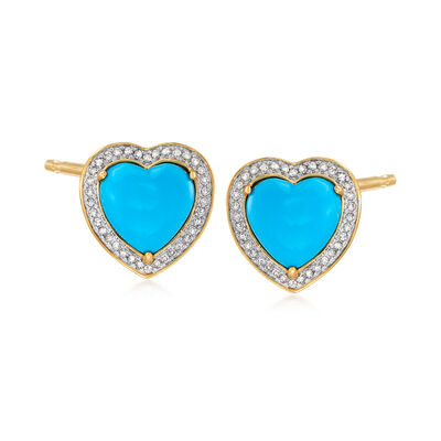 Turquoise and .20 ct. t.w. Diamond Heart Earrings in 18kt Gold Over Sterling