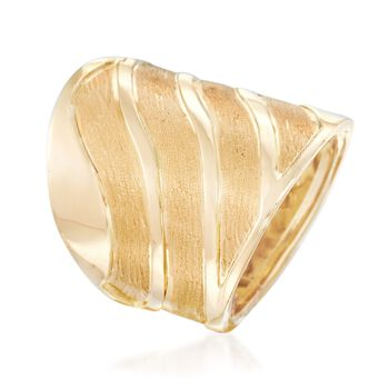 Italian 18kt Yellow Gold Satin-Finished and Polished Wave Ring. Size 5, , default
