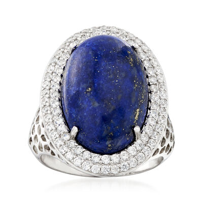 Lapis and 1.20 ct. t.w. White Zircon Halo Ring in Sterling Silver