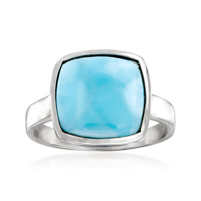 Square Larimar Ring in Sterling Silver