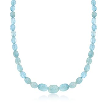 """Milky Aquamarine Bead Necklace in Sterling Silver. 18"""", , default"""