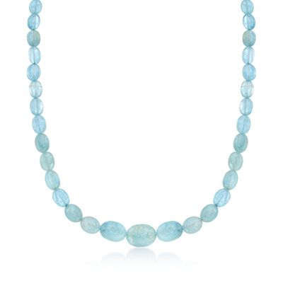 Milky Aquamarine Bead Necklace in Sterling Silver, , default